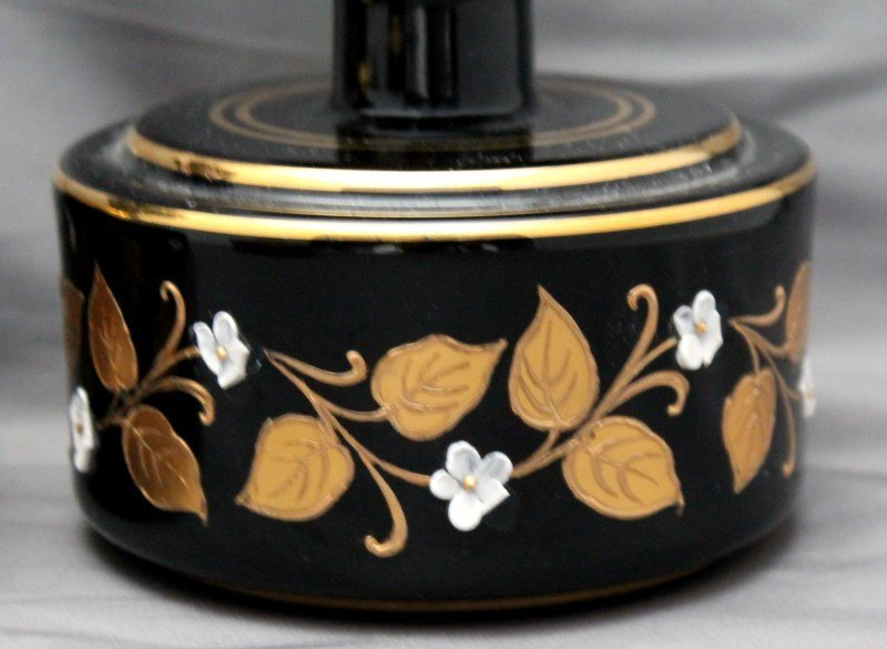 BOHEMIAN EBONY ENAMELED DRESSER SET - 4