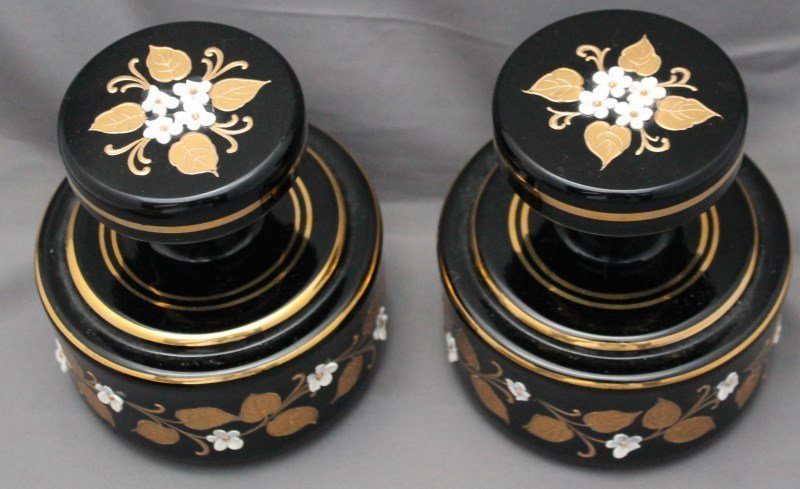 BOHEMIAN EBONY ENAMELED DRESSER SET - 6