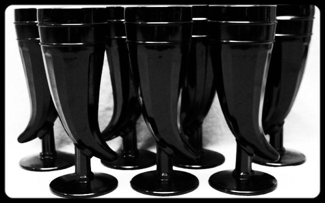 7 pc TIARA BLACK AMETHYST PILSNER GLASSES