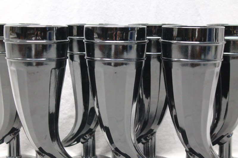 7 pc TIARA BLACK AMETHYST PILSNER GLASSES - 3