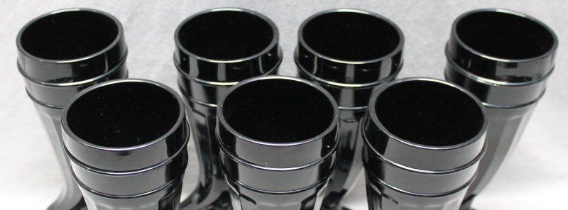 7 pc TIARA BLACK AMETHYST PILSNER GLASSES - 5