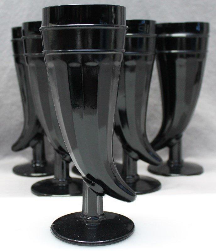 7 pc TIARA BLACK AMETHYST PILSNER GLASSES - 6