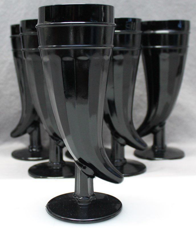 7 pc TIARA BLACK AMETHYST PILSNER GLASSES - 6