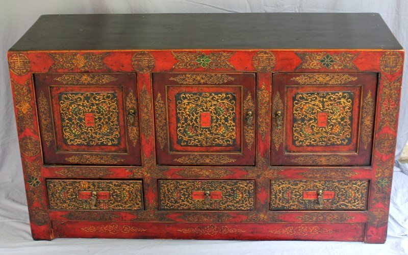 HAND PAINTED TIBETAN ALTAR CABINET