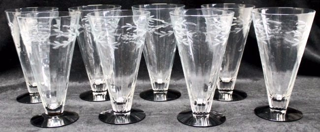 10 1920s ETCHED BLACK AMETHYST FOOTED TUMBLERS
