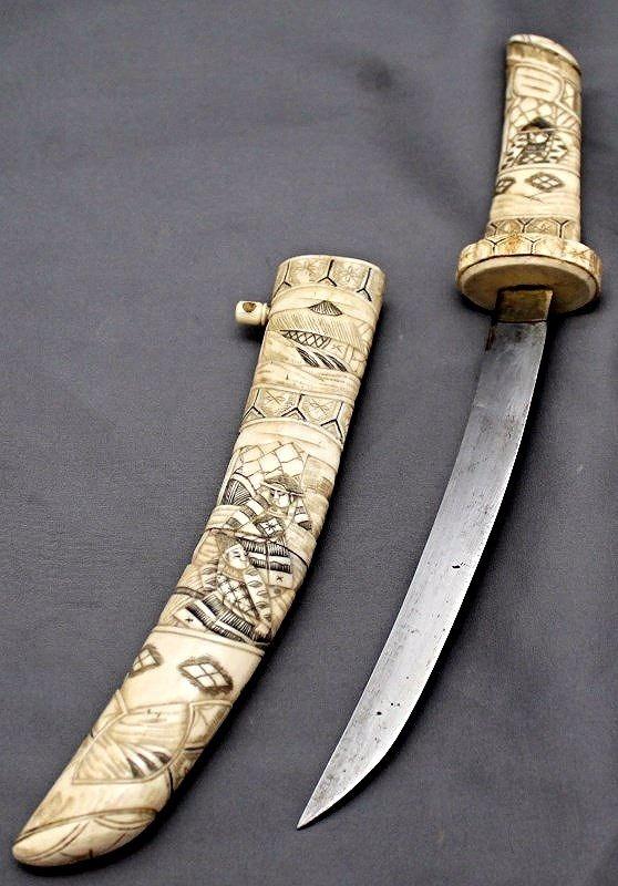 19TH CENTURY JAPANESE MEIJI PERIOD BONE WAKIZASHI