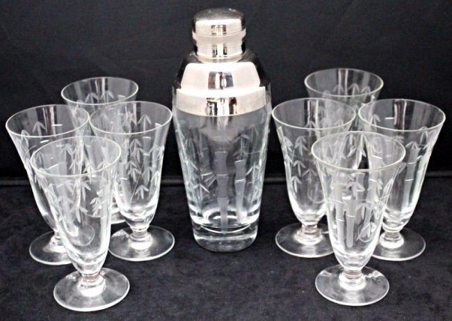 1950s COCKTAIL MARTINI SHAKER + 8 GLASSES - NORITAKE