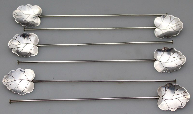 6 pc 1940s MEXICAN STERLING LEAF STRAWS