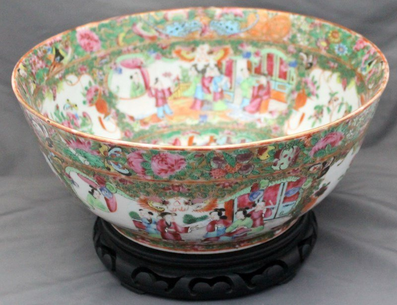 19th c. ROSE MEDALLION PUNCH BOWL ON STAND - 2