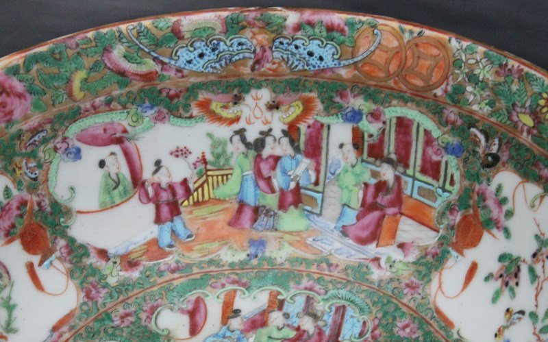 19th c. ROSE MEDALLION PUNCH BOWL ON STAND - 3