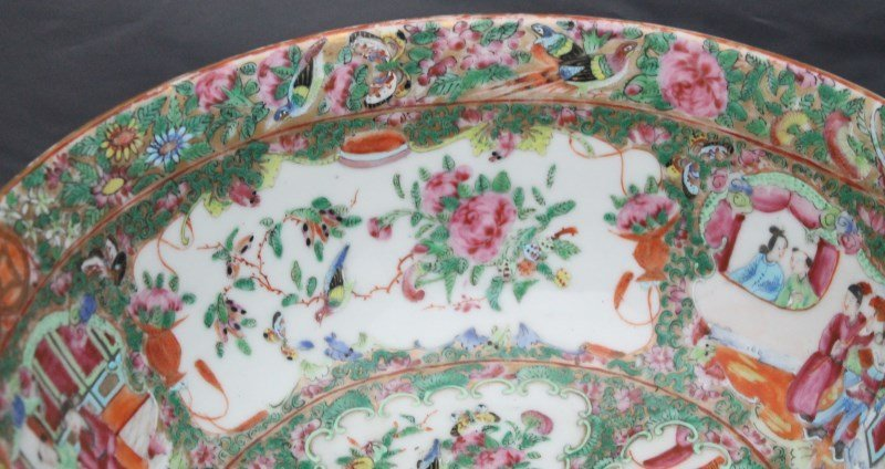 19th c. ROSE MEDALLION PUNCH BOWL ON STAND - 5