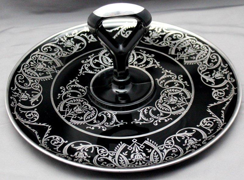 STERLING OVERLAY BLACK AMETHYST FRY GLASS