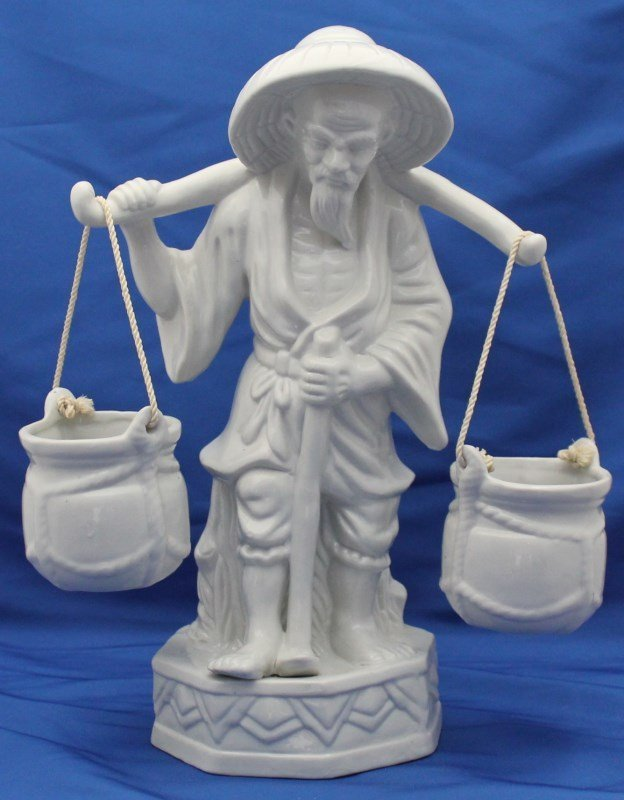 WHITE PORCELAIN CHINESE MAN WITH  BUCKETS