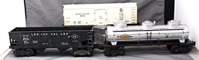 3 PC. 1940s-50s LIONEL TRAINS HOPPER - REFRIGERATOR-