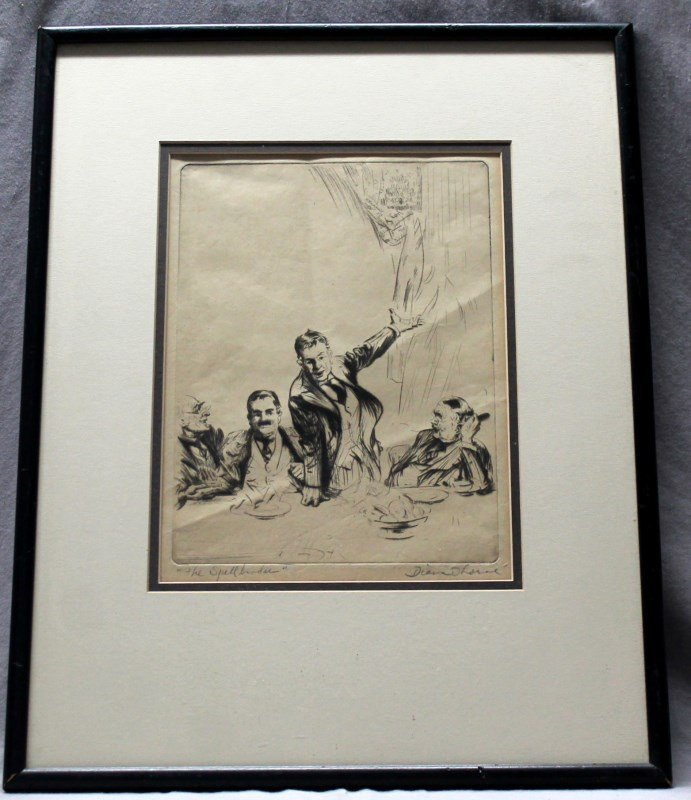 DIANA THORNE DRYPOINT ETCHING THE SPELLBINDER