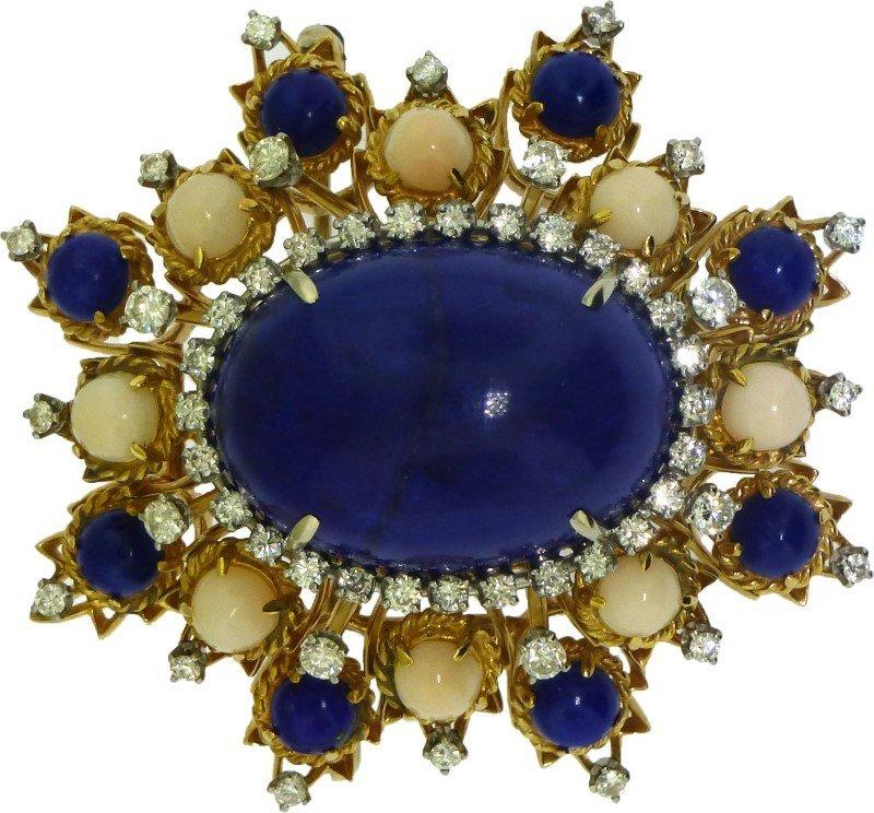 STUNNING 14k LAPIS & DIAMOND BROOCH (31.40 GRAMS)