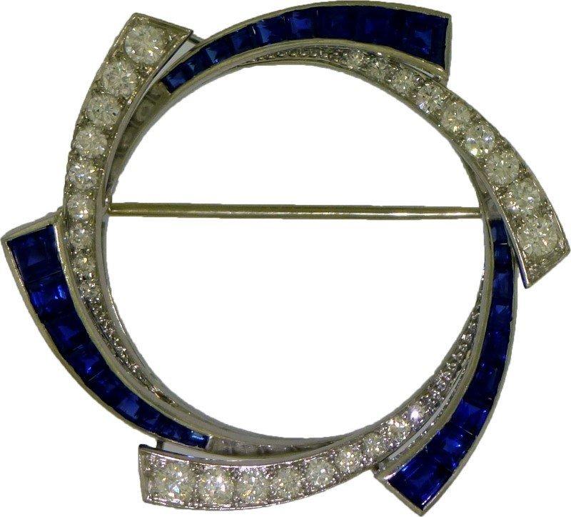ART DECO PLATINUM SAPPHIRE & DIAMOND BROOCH (11.10