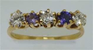 GWTW ESTATE 14K EDWARDIAN DIAMOND AMETHYST RING