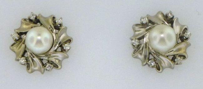 ESTATE 14k PEARL AND DIAMOND EARRINGS