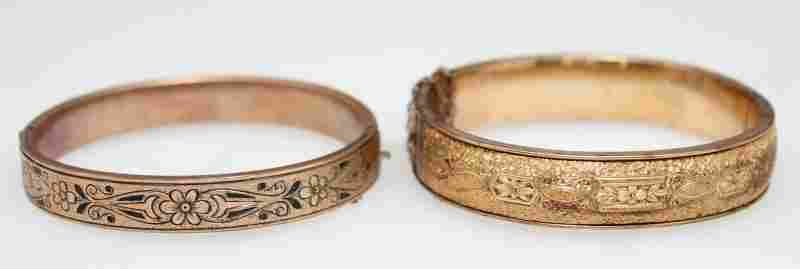 2 VICTORIAN 10k GOLD FILLED BANGLE BRACELETS