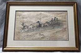 EARLY AMERICAN BOSTON FOLK ART GRAPHITE