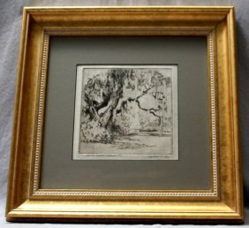 Alfred Hutty Drypoint Etching Signed Magnolia Gardens