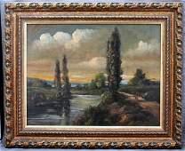 19th c. FLORENT MARTIGNY OIL - FRENCH RIVERSIDE