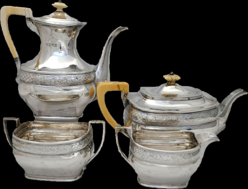 SCOTTISH STERLING SILVER TEA SERVICE / SET - R.W.