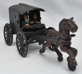 Vintage Cast Iron Amish Family In Buggy