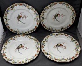 4 Pc Haviland Limoges Arcadia (parrots) Plates