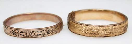 2 VICTORIAN 10k GOLD FILLED BANGLE BRACELETS