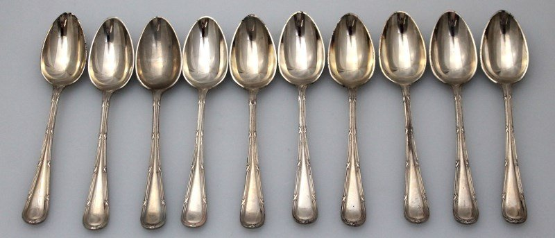 10 ENGLISH NEVADA SILVER DEMITASSE SPOONS