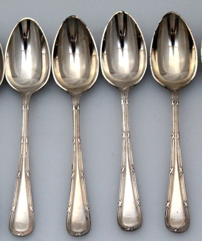 10 ENGLISH NEVADA SILVER DEMITASSE SPOONS - 2
