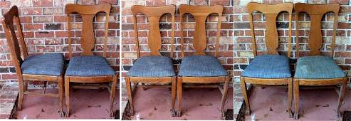 6 ANTIQUE OAK DINING CHAIRS