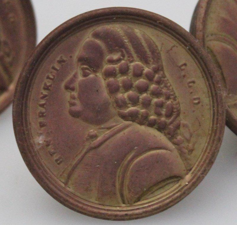 8 VERY RARE c. 1820 BENJAMIN FRANKLIN DRAWER PULLS