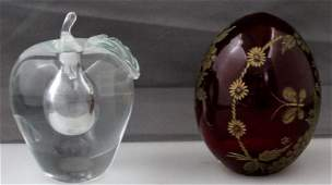 2 pc FABERGE RUBY GOLD ETCHED EGG  APPLE PERFUME