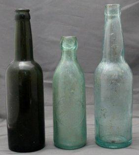 2 Antique Glass Beer Bottles