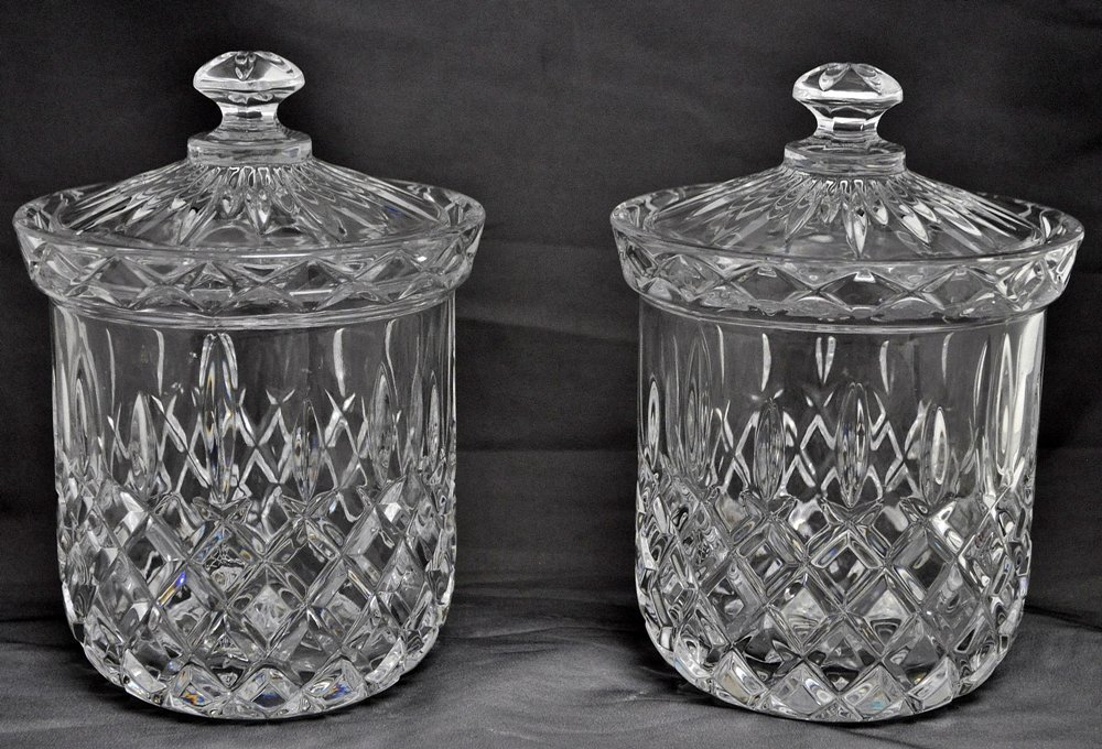 PAIR GORHAM CRYSTAL KING EDWARD BISCUIT BARRELS