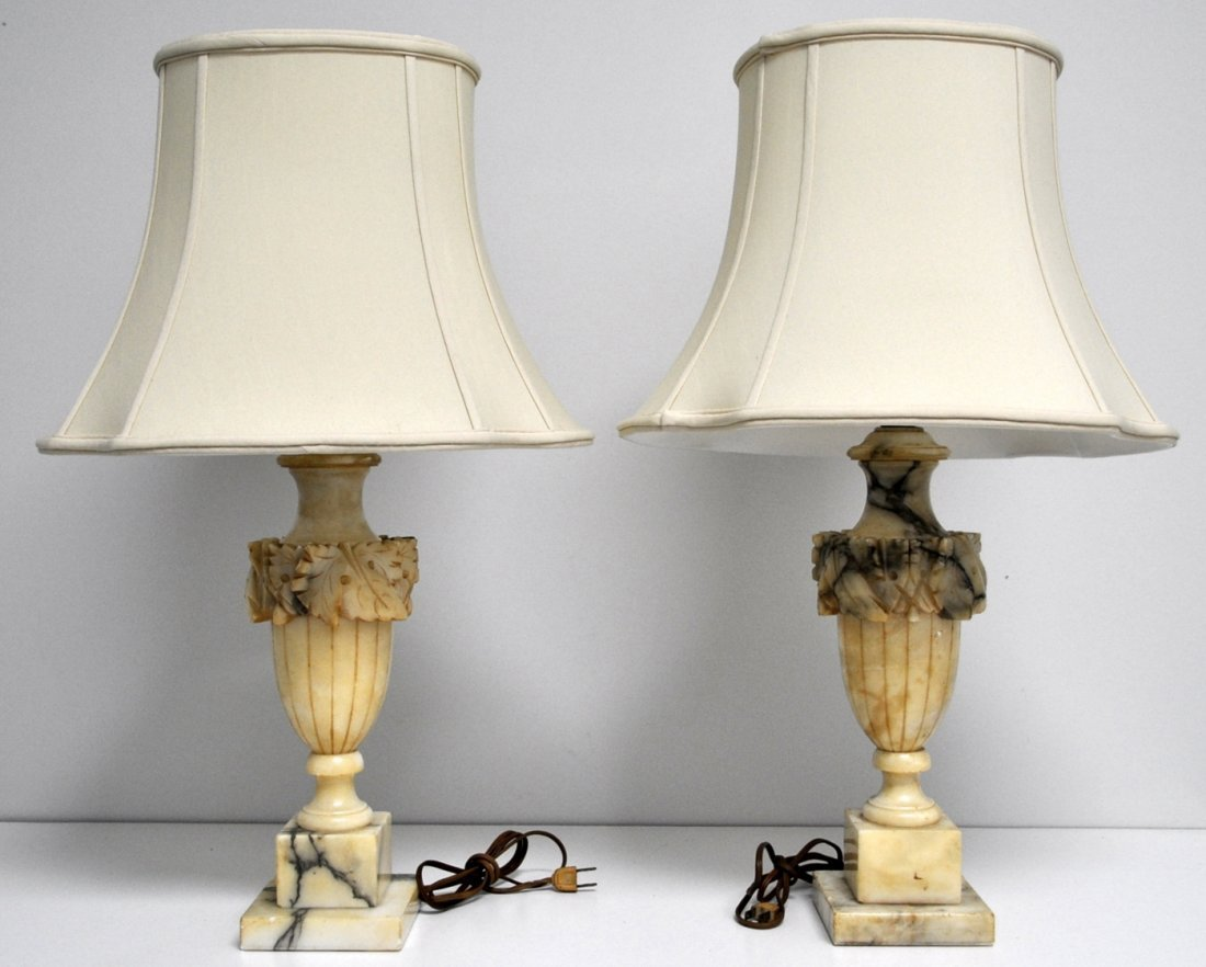 PAIR CARVED ALABASTER TABLE LAMPS