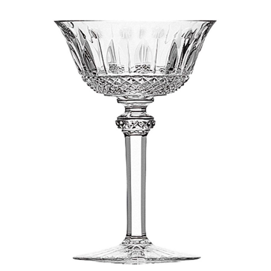 6 FRENCH SAINT LOUIS CRYSTAL TOMMY CHAMPAGNE SAUCERS