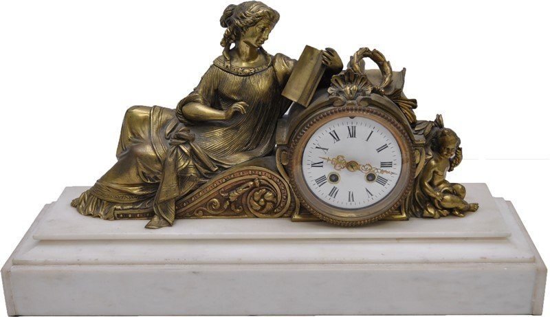 FRENCH EMPIRE GILT BRONZE MANTLE CLOCK