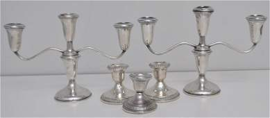 5 pc STERLING SILVER CANDELABRA  CANDLESTICKS
