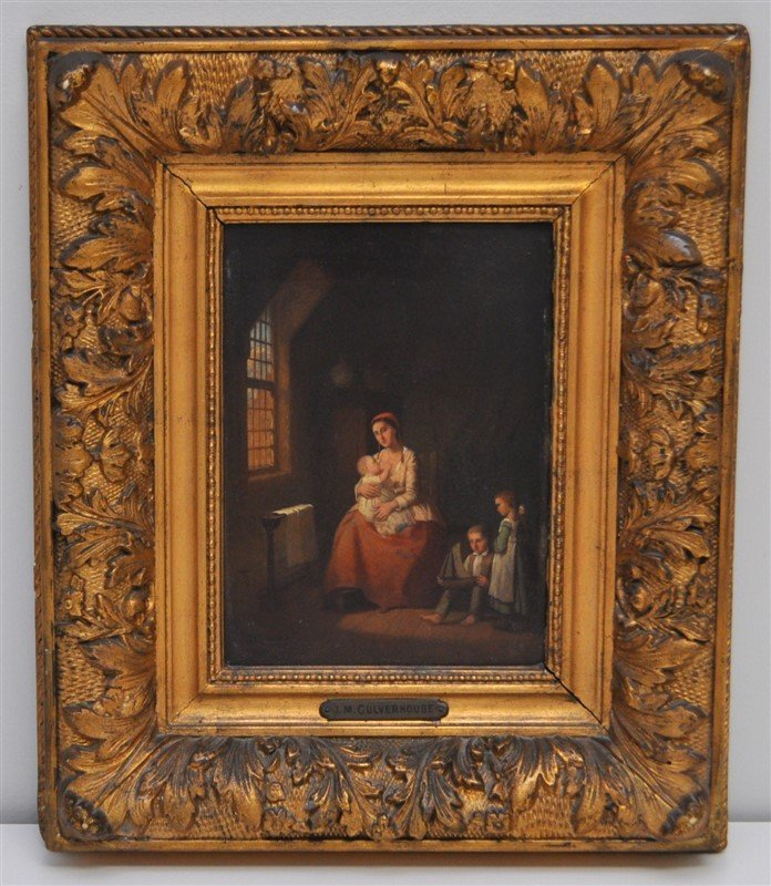 J. M. CULVERHOUSE INTERIOR WITH FAMILY OIL