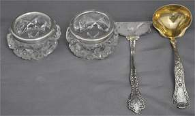 4 pc ANTIQUE STERLING SALTS  LADLE  BABY FOOD