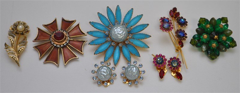 7 Pc VINTAGE 1950-60S COSTUME JEWELRY