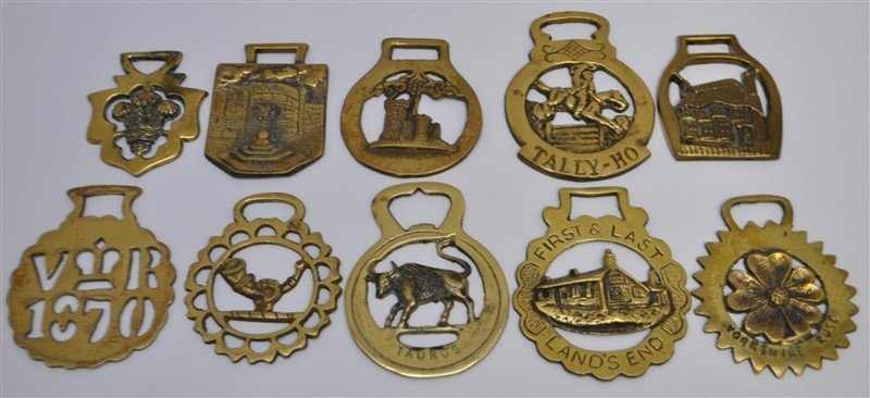 10 pc ANTIQUE & VINTAGE ENGLISH HORSE BRASSES