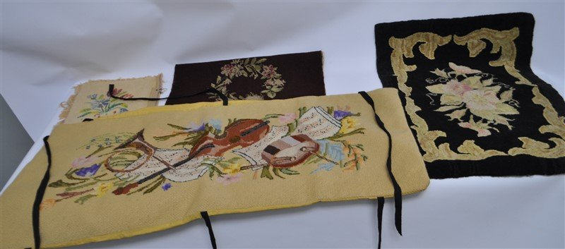 4 ANTIQUE AMERICAN HOOKED RUG &  NEEDLEPOINT