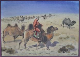MONGOLIAN WATERCOLOR CAMEL HERDER - LOBSAN ZUNDAI