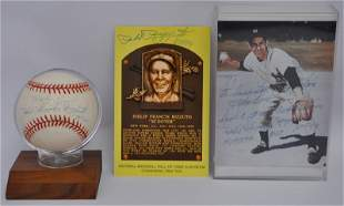 3 PHIL HOLY COW RIZZUTO AUTOGRAPHED BASEBALL & PHOTO +