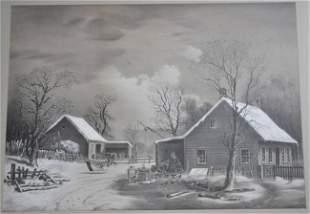 ORIGINAL WINTER FARM SCENE FOLK ART GOUACHE